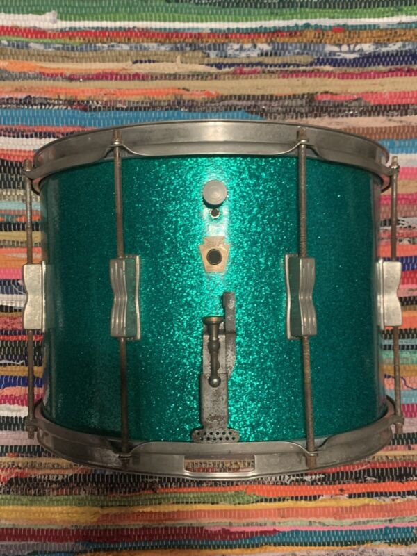 Vintage Ludwig 14x12 Marching Snare In Original Green Sparkle