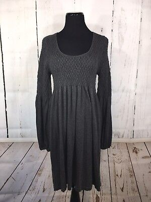 Angie Knit Dress Soft Textured Stretch Gray Long Sleeves Large L