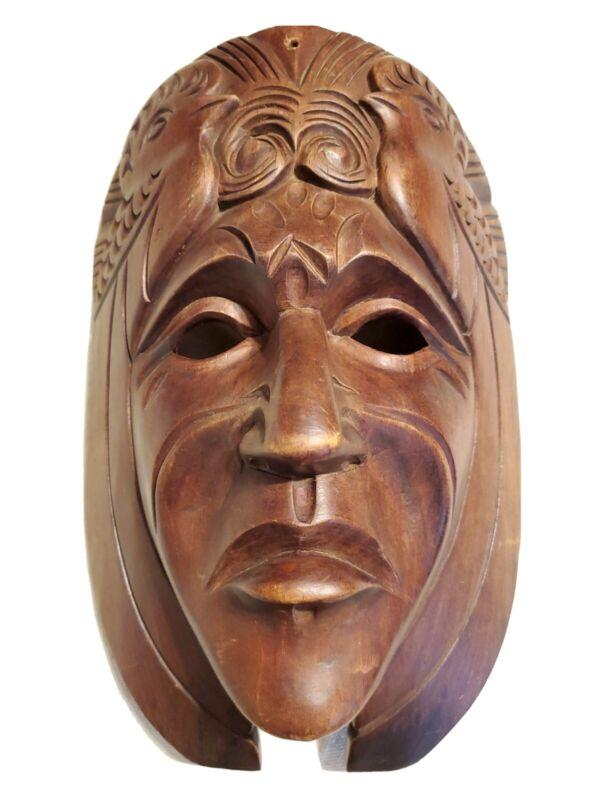 Vintage Wooden Mask Handmade Mayan Aztec Wall Hanging Decor