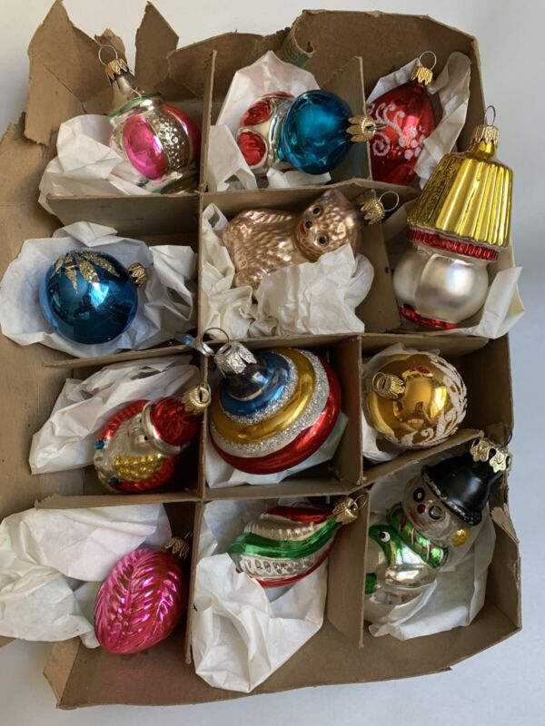 "12 Vintage Figural Christmas Ornaments 1 1/2"" to 3""  #O3B"