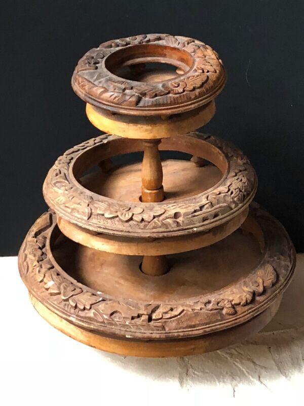 RARE Vintage Carved WOOD Antique 3-Tier Bowls STAND Holder FRUIT Display