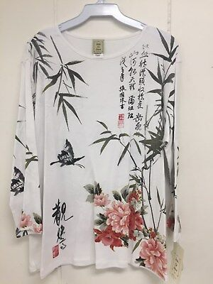 Jess and Jane Calligraphy White Floral Asian 3/4 Sleeve Shirt Size New with (3/4 Sleeve Floral Shirt)