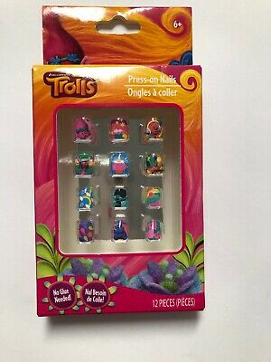 New Cute Troll Press On Nails For Girls.12 Pieces Age 6+ ](Nails For Girls)
