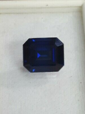 Lab created Synthetic Blue sapphire 12x10mm Octagon Loose Gemstone
