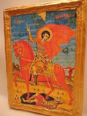 Saint Demeter Agios Dimitrios Rare Balkan Byzantine Greek Orthodox Wooden Icon