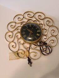 Vtg Mid Century MCM General Electric GE Telechron Wall Clock Scroll 12.5 2HA60