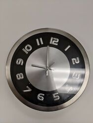 12 Stainless Steel Frame Atomic Analog Wall Clock for kitchen Pre-owned