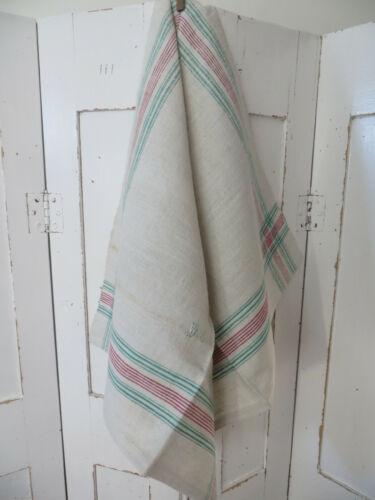 Towel Handwoven Linen Red and Green Stripes Monogram WK German Antique  Unused