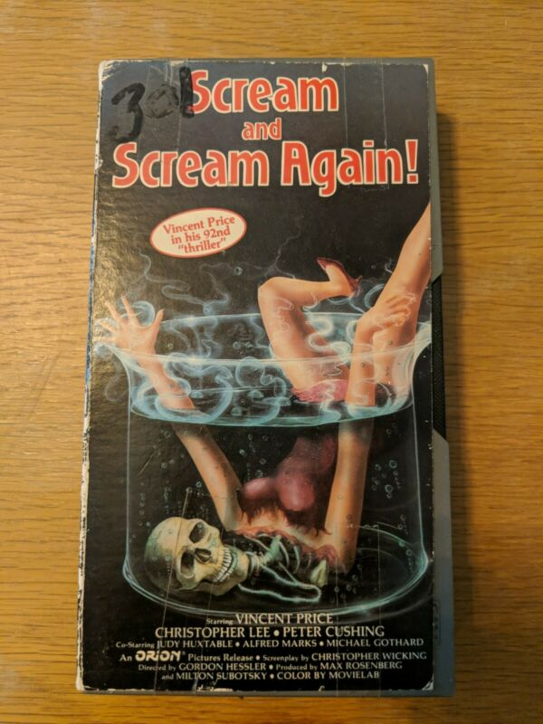 Scream and Scream Again VHS (1985) Sci Fi Thriller Horror Vestron CUTBOX
