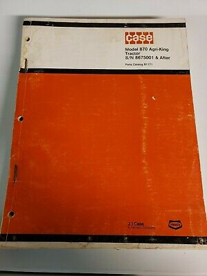 Case 870 Agri-king Tractor Original Parts Manual Catalog Sn 8675002 After
