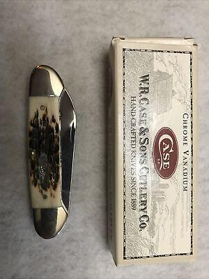 2001 CASE XX Canoe 62131 Amber Jigged Bone Knife Knives New With Box