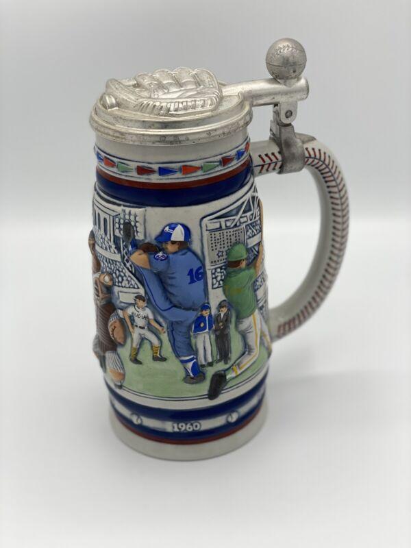 Vintage 1984 AVON Great American Baseball Ceramic Lidded Beer Stein 38427 BRAZIL