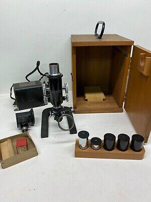 Antique 1915 Bausch Lomb Microscope Case Set Lenses Transformer Remarkable