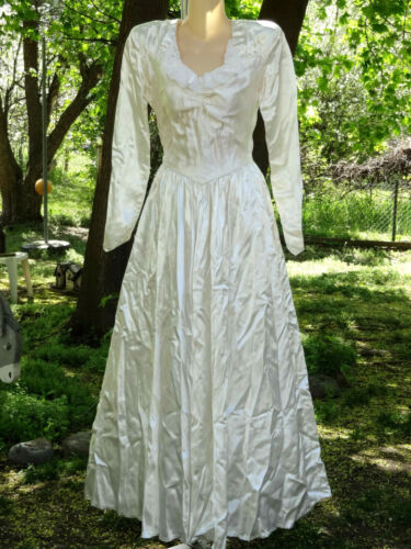 Beauty! Vtg 40s Emma Domb-Party Lines Satin/Lace Wedding/Bridal Gown-S