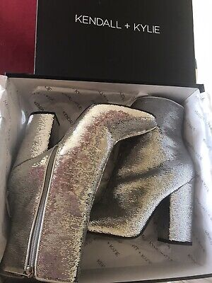Kendall + Kylie Glitter Silver Boots Size 6