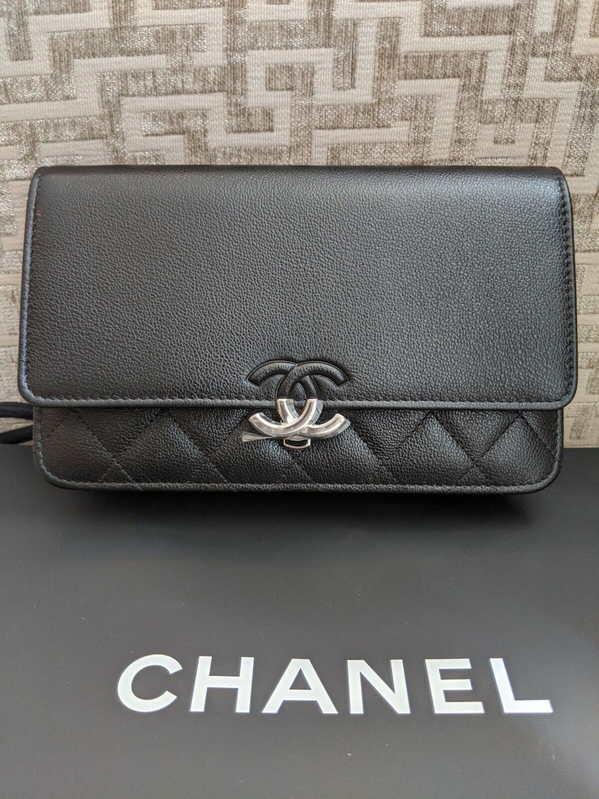 BNWT Chanel Wallet on Chain WoC Black Grained Calf Leather Cross Body Bag