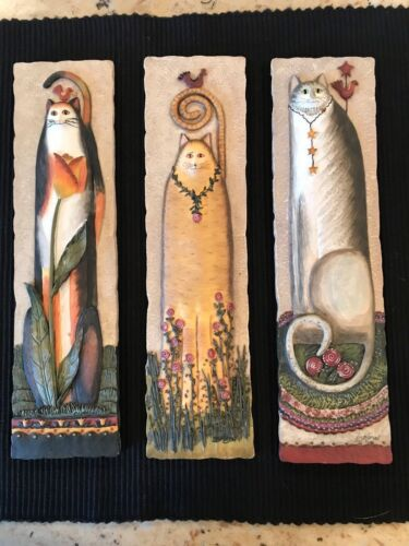 """LOT OF 3 READY TO HANG E.SMITHSON RAISED CAT WALL PLAQUES 11""""X 2-3/4"""" Resin"""
