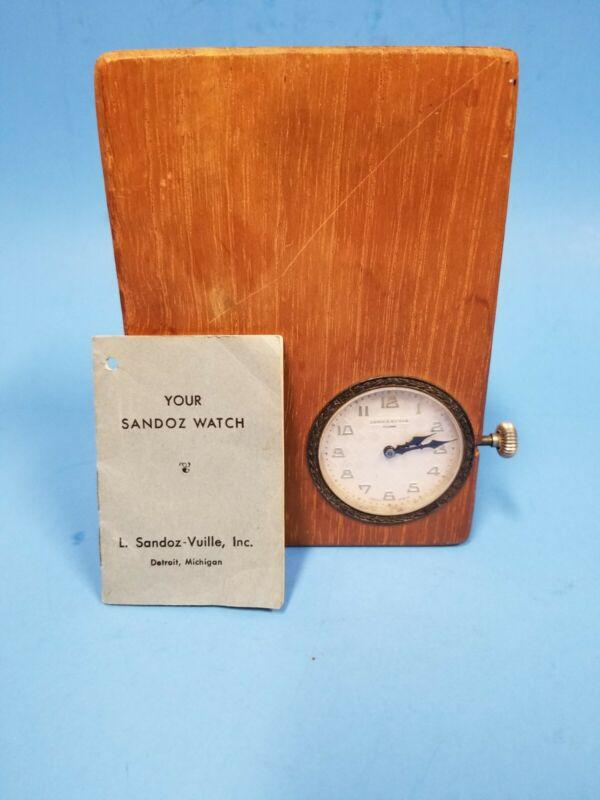 Vintage Sandoz Vuille 8 Day Swiss Made Art Deco Dashboard Watch Clock circa 1930