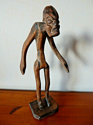 Vintage Wooden Carved Tiki Figure Tribal Folk Art Tiki Man Large Rustic 15.5