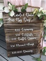 Personalized wooden and chalkboard signs