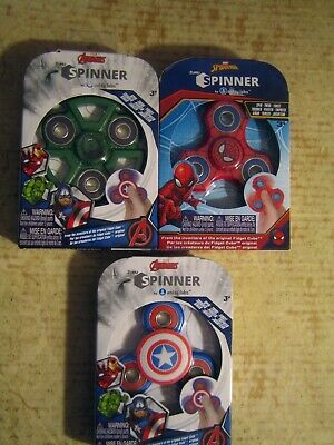 3 COLLECTABLE ZURU SPINNERS BY ANTSY LABS  SPIDER MAN HULK CAPTAIN AMERICA LOT