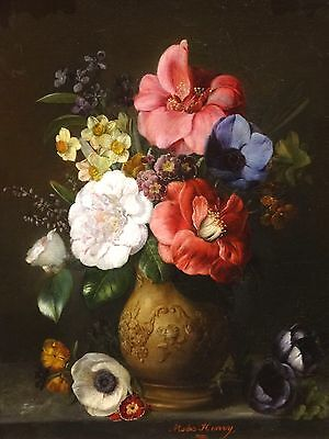 Fine 19th Century French Still Life Spring Flower Vase Antique Oil Painting