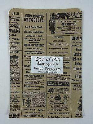 500 Qty. 6.25 X 9.25 Newsprint Design Paper Merchandise Bag Retail Shopping Bags