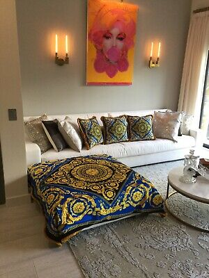 Oversized Custom  Made Baroque Versace Throw 55/55 Made From Upholstery Fabric