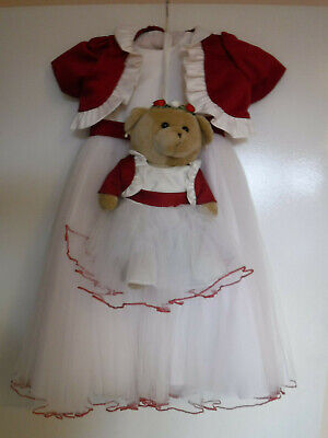 Bridesmaid - Flowergirl Dress With Matching Teddy Bear Child age 18/24 months