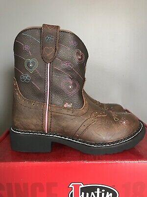 Justin Esmerelda 9205JR Brown Leather Light Up Cowboy Western Boots Girls Size 2