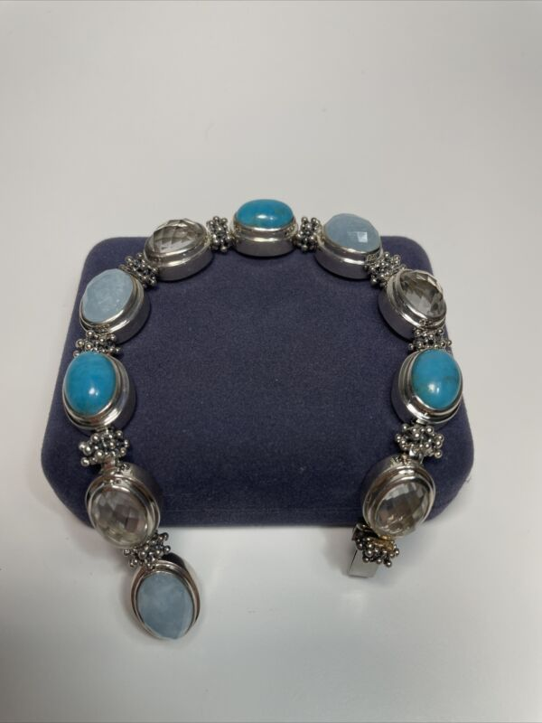 Michael Dawkins Turquoise & Blue & Clear Stone Sterling Caviar Bracelet
