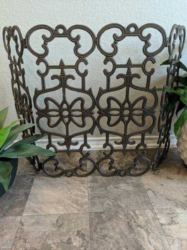 Antique Wrought  Iron Triple  Folding Fireplace Garden Screen 36x23