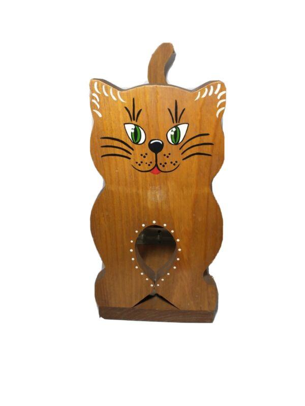Vintage Handmade Wood Cat Bookcase Comics Magazine Holder Handpainted Wooden Cat