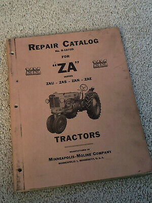 Mm Minneapolis-moline Repair Catalog Za Series Tractors Zau Zas Zan Zae R-1072d