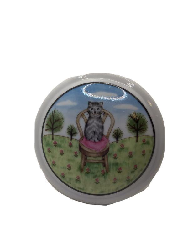 Cute Cat Trinket Box Round Ceramic with Lid