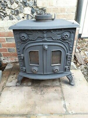 "CAST IRON WOOD BURNER STOVE 5"" OUTLET LOG FIRE"