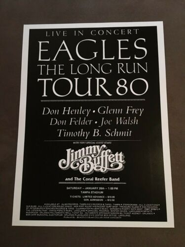 THE EAGLES & JIMMY BUFFETT Concert Poster January 26, 1980 TAMPA FLORIDA FL