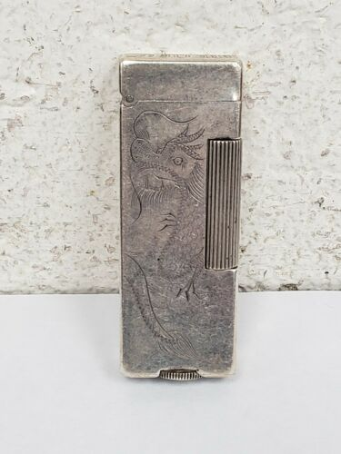 Dunhill 900 Silver Vintage Engraved Dragon Lighter Shanghai Rollalite Rare