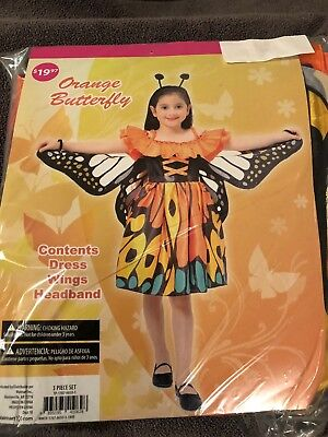 Halloween Costume Girls Orange Butterfly Small or Large NEW - Orange Halloween Costumes