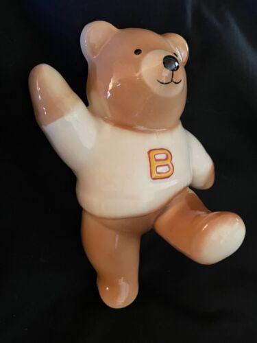 VINTAGE CERAMIC SWEATER WEARING TEDDY BEAR WALL COAT HOOK FOR BABYS ROOM NURSERY