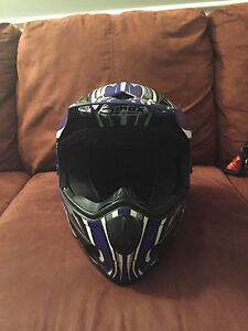 Dirt bike helmet, gloves and goggles