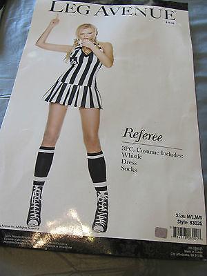 LEG AVENUE REFEREE style 83035 3 pc. Sexy Black White Stripe COSTUME (Leg Avenue Referee Costume)