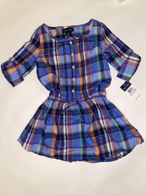 NWT New Ralph Lauren Polo Toddler Girls Shirtdress Dress Size 4T Blue Plaid