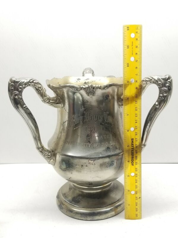 Antique 1923 University of South Dakota Track Silver Plate Cup Trophy Josten BIG