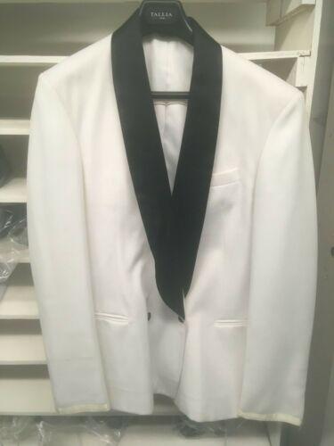 Vintage White Coat with Black Shawl Lapel Double Breasted Tuxedo Jacket