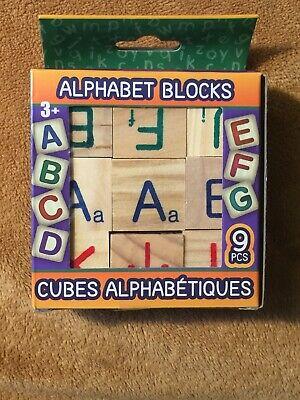Wooden Alphabet Blocks Set Kids ABC/ # 9 Pieces Toddler Toy