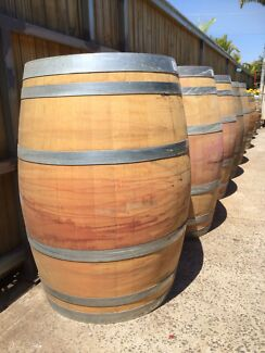 Genuine French Wood Oak Half Full Wine Barrel Barrique Plant Pot Fairy Meadow Wollongong Area Preview