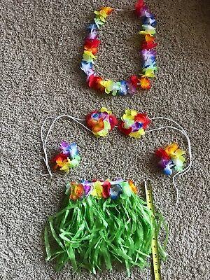 PC Child GIRL Hawaiian Grass Skirt Lei Bracelet HALLOWEEN COSTUME - Hawaiian Girl Halloween Costume