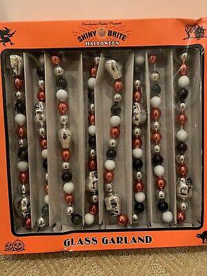 Christopher Radko Shiny Brite Halloween Garland Glass Skulls Beads - New in Box