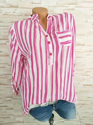 Damen Fischerhemd gestreift Viskose PINK weiss 38 40 42 S M (Weiß M)